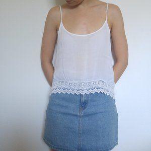 White Lace/ Crochet Trim Camisole Tank +Bangles